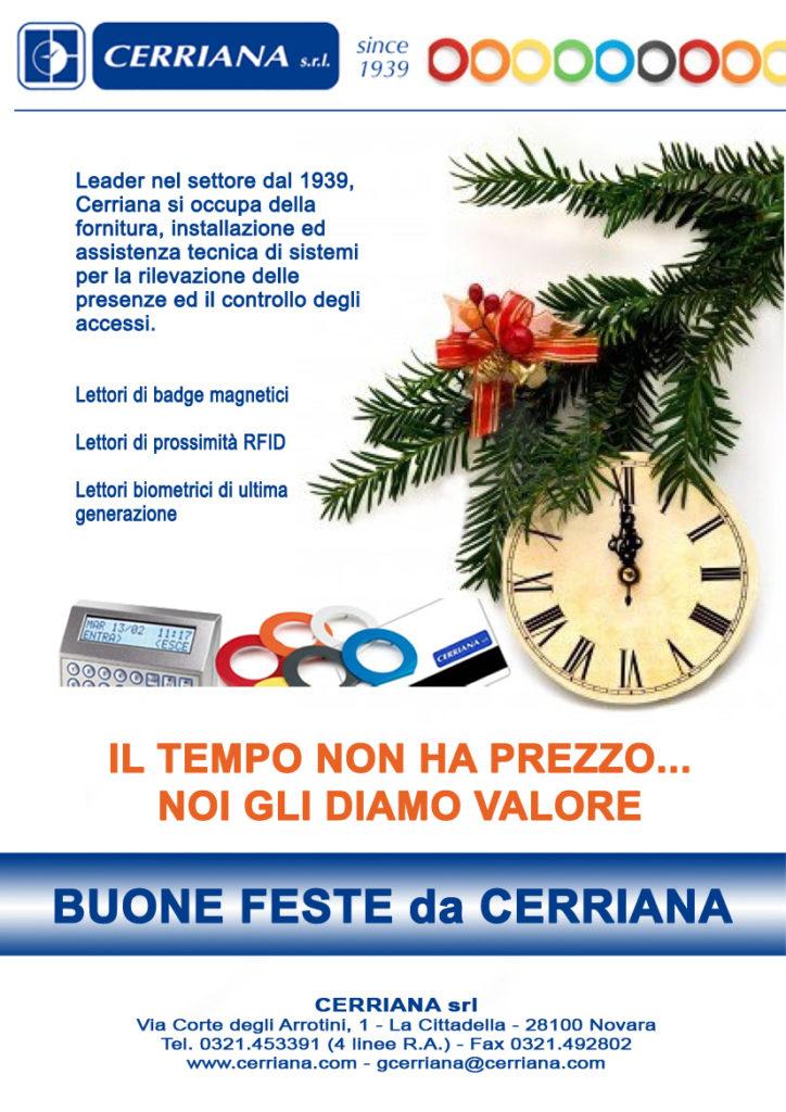 Auguri di Natale - Leader nel settore dal 1939, Cerriana si occupa della fornitura, installazione ed assistenza tecnica di sistemi rilevazione presenze