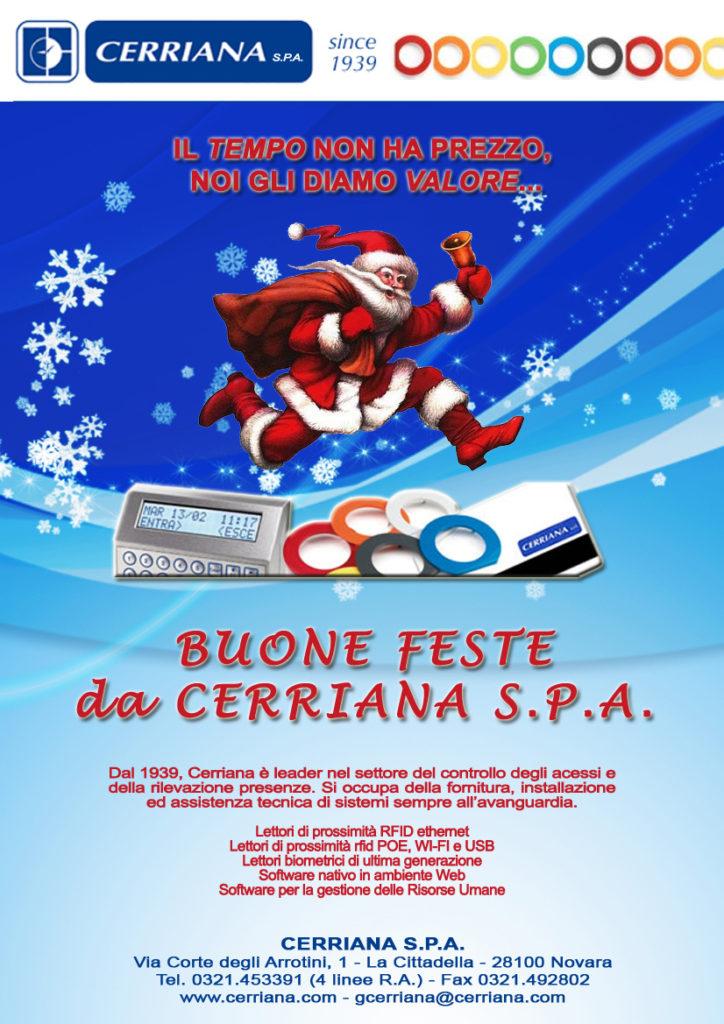 Buone feste da Cerriana S.P.A. Dal 1939, Cerriana è leader nel settore del controllo degli accessi e della rilevazione presenze.