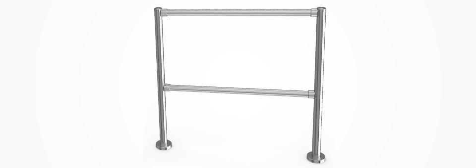 Sistema modulare di transenne in acciaio inox AISI 304 lucidato. Semplici da comporre.